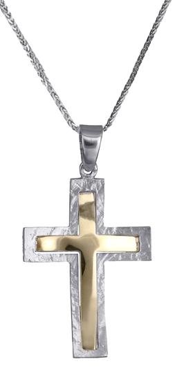 Βαπτιστικοί Σταυροί με Αλυσίδα Δίχρωμος σταυρός 14Κ με αλυσίδα 012297C Ανδρικό Χρυσός 14 Καράτια