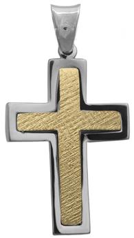 Σταυροί Βάπτισης - Αρραβώνα Δίχρωμος αντρικός σταυρός 14Κ 012299 Ανδρικό Χρυσός 14 Καράτια