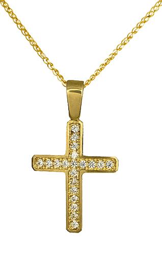 Γυναικείος σταυρός με αλυσίδα C012305 012305C Χρυσός 14 Καράτια