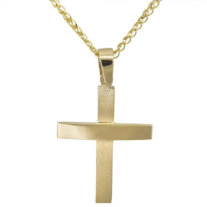 Χρυσός σταυρός Κ14 με αλυσίδα 012314C 012314C Χρυσός 14 Καράτια