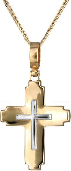 Βαπτιστικοί Σταυροί με Αλυσίδα Οικονομικός σταυρός με αλυσίδα C012407 012407C Ανδρικό Χρυσός 14 Καράτια