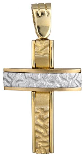 Σταυροί Βάπτισης - Αρραβώνα Δίχρωμος σταυρός 012423 012423 Ανδρικό Χρυσός 14 Καράτια