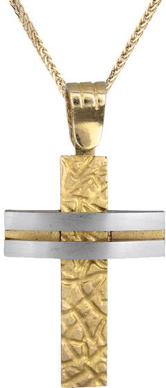 Βαπτιστικοί Σταυροί με Αλυσίδα Ανδρικός σταυρός με αλυσίδα C012424 012424C Ανδρικό Χρυσός 14 Καράτια
