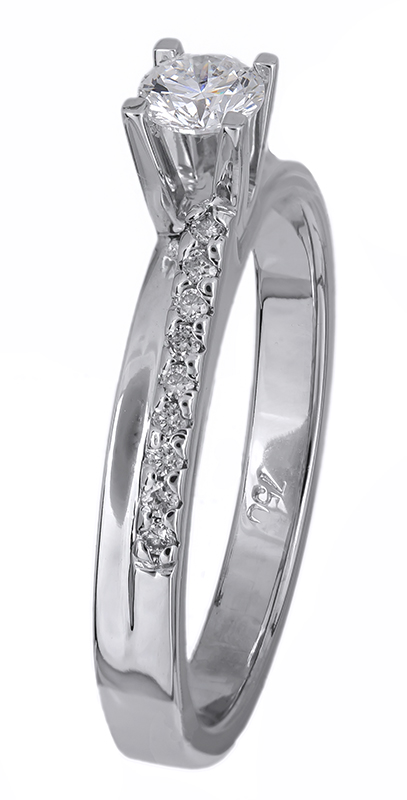 Μονόπετρο λευκόχρυσο με διαμάντια 18Κ 021658 021658 Χρυσός 18 Καράτια χρυσά κοσμήματα δαχτυλίδια μονόπετρα