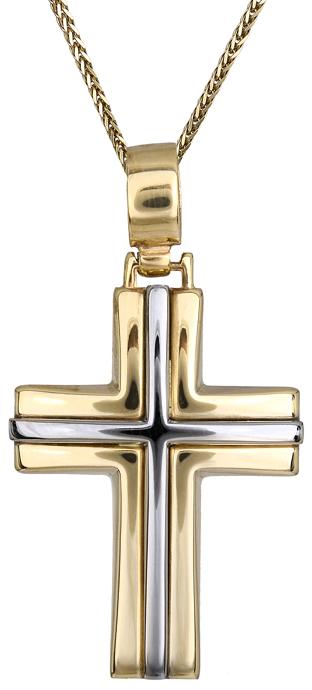 Βαπτιστικοί Σταυροί με Αλυσίδα Δίχρωμος σταυρός 9Κ C012481 012481C Ανδρικό Χρυσός 9 Καράτια