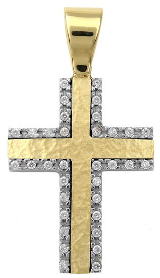 Σταυροί Βάπτισης - Αρραβώνα Δίχρωμος σταυρός 9Κ 012497 012497 Γυναικείο Χρυσός 9 Καράτια