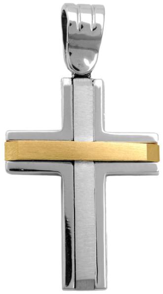 Σταυροί Βάπτισης - Αρραβώνα Διπλής όψης σταυρός 9Κ 012579 Ανδρικό Χρυσός 9 Καράτια