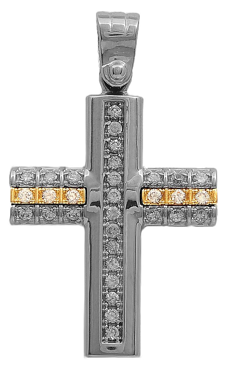 Σταυροί Βάπτισης - Αρραβώνα Δίχρωμος σταυρός 9Κ 012623 Γυναικείο Χρυσός 9 Καράτια