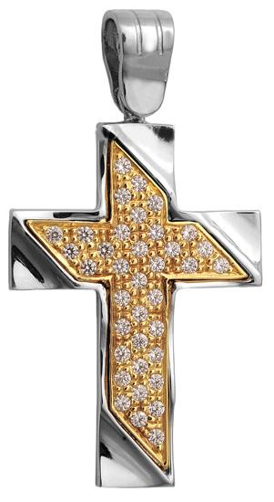 Σταυροί Βάπτισης - Αρραβώνα Δίχρωμος σταυρός 9 καράτια 012650 Γυναικείο Χρυσός 9 Καράτια