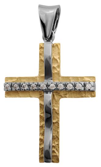 Σταυροί Βάπτισης - Αρραβώνα Δίχρωμος σταυρός Κ9 012673 Γυναικείο Χρυσός 9 Καράτια