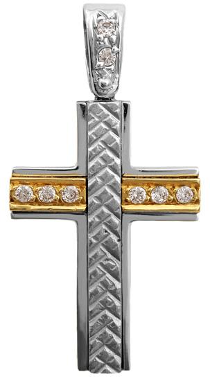 Σταυροί Βάπτισης - Αρραβώνα Σταυρός δίχρωμος Κ9 012674 012674 Γυναικείο Χρυσός 9 Καράτια