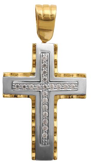 Σταυροί Βάπτισης - Αρραβώνα Δίχρωμος σταυρός 9Κ 012677 Γυναικείο Χρυσός 9 Καράτια