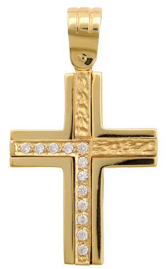 Σταυροί Βάπτισης - Αρραβώνα Σταυρός διπλής όψεως 9Κ 012694 012694 Γυναικείο Χρυσός 9 Καράτια