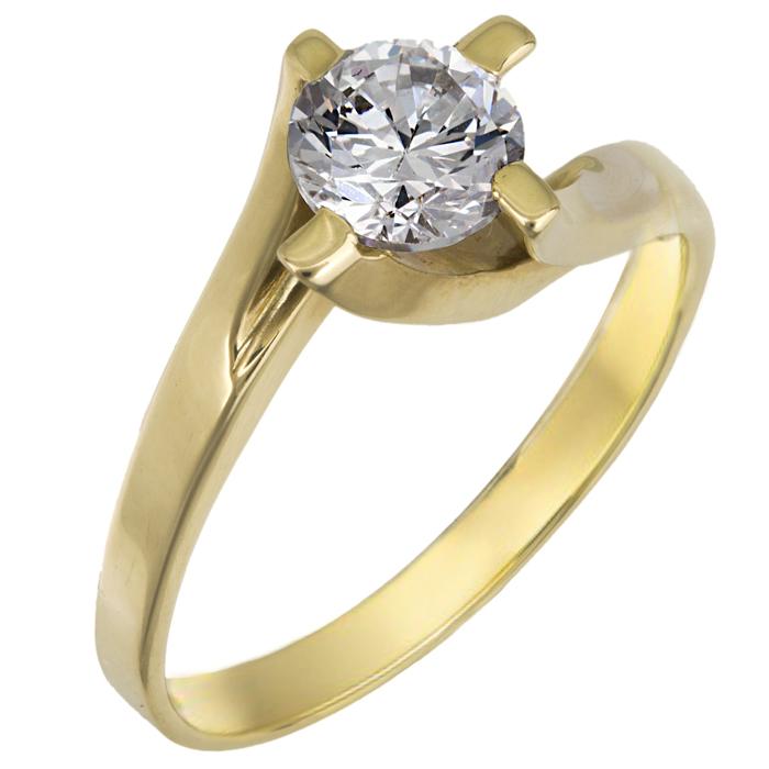 Χρυσό μονόπετρο δαχτυλίδι Κ9 012716 Χρυσός 9 Καράτια