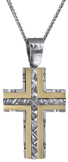 Βαπτιστικοί Σταυροί με Αλυσίδα Δίχρωμος σταυρός 9Κ με αλυσίδα C012779 012779C Ανδρικό Χρυσός 9 Καράτια