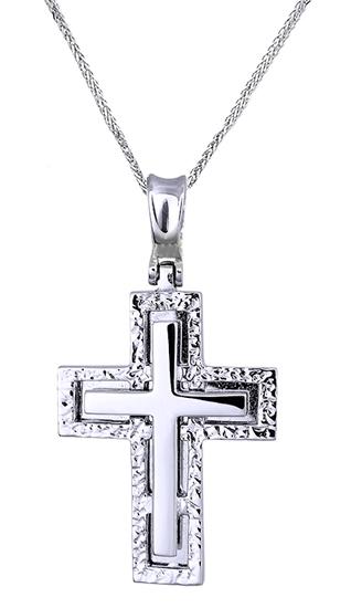 Βαπτιστικοί Σταυροί με Αλυσίδα Λευκόχρυσος Σταυρός Με Ανάγλυφο 14Κ 012781C Ανδρικό Χρυσός 14 Καράτια