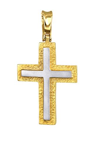 Σταυροί Βάπτισης - Αρραβώνα Βαπτιστικός Δίχρωμος Σταυρός 14Κ 012783 012783 Ανδρικό Χρυσός 14 Καράτια