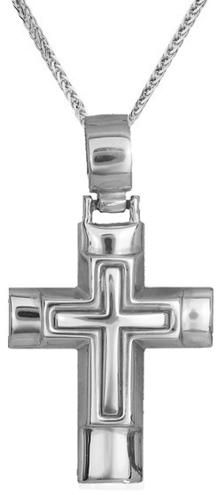 Βαπτιστικοί Σταυροί με Αλυσίδα ΛΕΥΚΟΧΡΥΣΟΣ ΣΤΑΥΡΟΣ Κ14 ΜΕ ΑΛΥΣΙΔΑ 012812C Ανδρικό Χρυσός 14 Καράτια