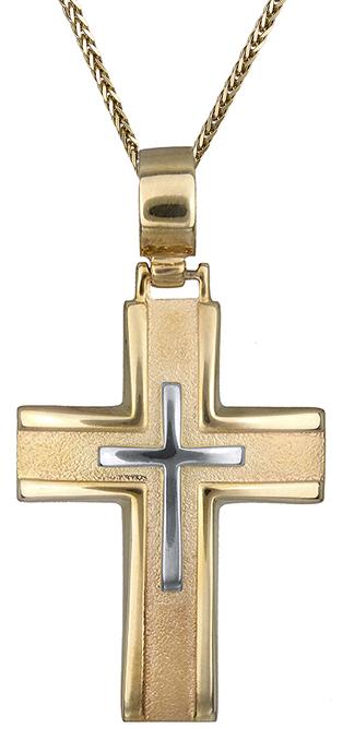 Βαπτιστικοί Σταυροί με Αλυσίδα Δίχρωμος σταυρός Κ14 C012819 012819C Ανδρικό Χρυσός 14 Καράτια