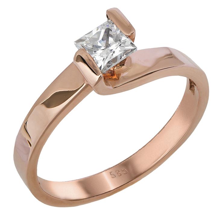 Μονόπετρο ροζ χρυσό Κ14 012828 012828 Χρυσός 14 Καράτια