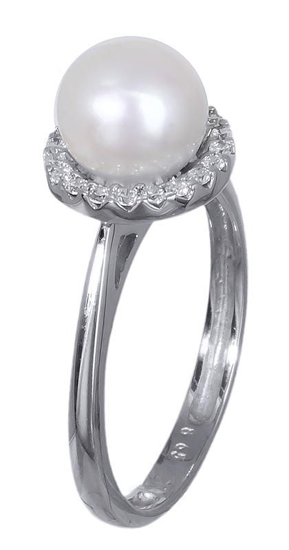 Λευκόχρυσο δαχτυλίδι 14K με μαργαριτάρι 012836 012836 Χρυσός 14 Καράτια
