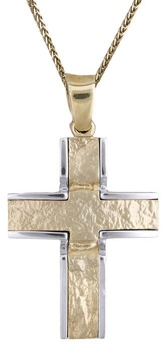 Βαπτιστικοί Σταυροί με Αλυσίδα Ανδρικός σταυρός δίχρωμος Κ14 C012840 012840C Ανδ σταυροί βάπτισης   γάμου βαπτιστικοί σταυροί με αλυσίδα