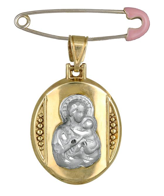 Φυλαχτό για μωρά διπλής όψης Κ9 C015080 015080C Χρυσός 9 Καράτια