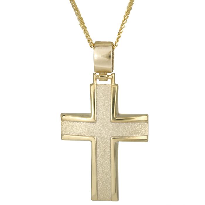 Βαπτιστικοί Σταυροί με Αλυσίδα Βαπτιστικός σταυρός χρυσός 9Κ C012890 012890C Ανδρικό Χρυσός 9 Καράτια
