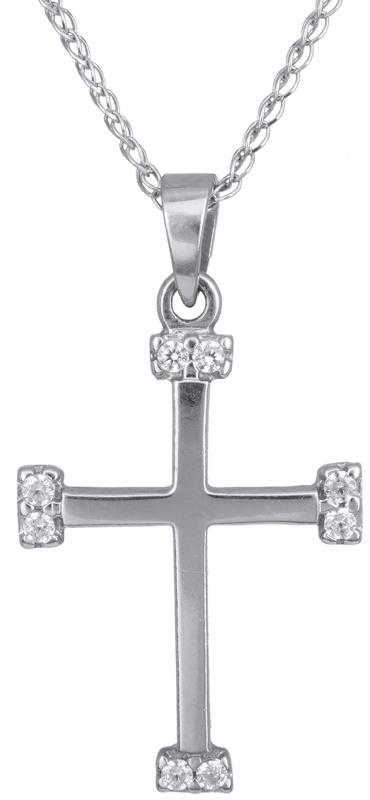 Γυναικείος σταυρός σε λευκό χρυσό C012923 012923C Χρυσός 14 Καράτια