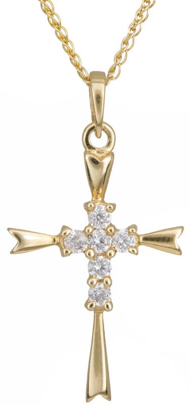 Βαπτιστικοί Σταυροί με Αλυσίδα Χρυσός γυναικείος σταυρός Κ14 C012924 012924C Γυναικείο Χρυσός 14 Καράτια