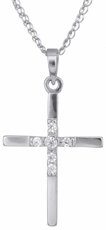 Γυναικείος σταυρός λευκόχρυσος Κ14 C012925 012925C Χρυσός 14 Καράτια