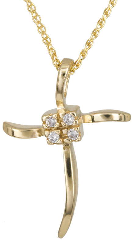 Γυναικείος χρυσός σταυρός Κ14 με ζιργκόν C012933 012933C Χρυσός 14 Καράτια