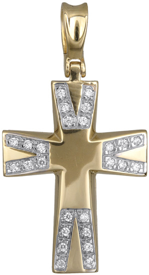Σταυροί Βάπτισης - Αρραβώνα Σταυρός για κορίτσι με πέτρες ζιργκόν 14Κ 012947 012947 Γυναικείο Χρυσός 14 Καράτια