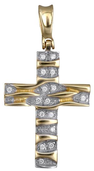 Σταυροί Βάπτισης - Αρραβώνα Γυναικείος δίχρωμος σταυρός 012950 012950 Γυναικείο Χρυσός 14 Καράτια