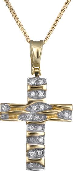 Βαπτιστικοί Σταυροί με Αλυσίδα Γυναικείοι σταυροί δίχρωμοι Κ14 C012950 012950C Γυναικείο Χρυσός 14 Καράτια