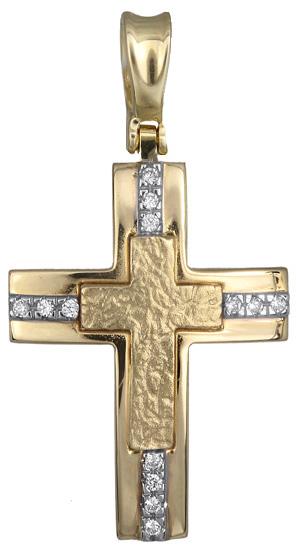 Σταυροί Βάπτισης - Αρραβώνα Γυναικείος σταυρός πετράτος 14Κ 012952 012952 Γυναικείο Χρυσός 14 Καράτια
