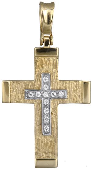 Σταυροί Βάπτισης - Αρραβώνα Γυναικείος σταυρός πετράτος Κ14 012953 012953 Γυναικείο Χρυσός 14 Καράτια