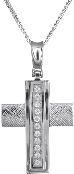Βαπτιστικοί Σταυροί με Αλυσίδα Γυναικείοι σταυροί από λευκόχρυσο 14Κ C012957 012957C Γυναικείο Χρυσός 14 Καράτια