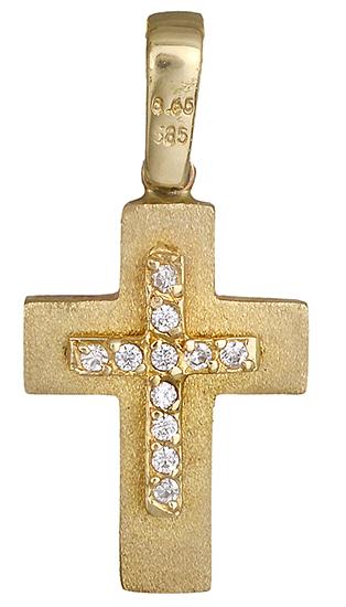 Σταυροί Βάπτισης - Αρραβώνα Βαπστικός σταυρός διπλής όψης 012965 012965 Γυναικείο Χρυσός 14 Καράτια