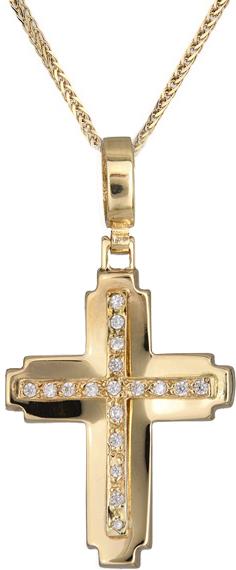 Βαπτιστικοί Σταυροί με Αλυσίδα Γυναικείος σταυρός πετράτος C012974 012974C Γυναικείο Χρυσός 14 Καράτια