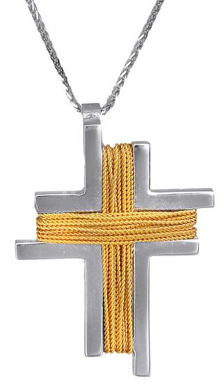 Βαπτιστικοί Σταυροί με Αλυσίδα Δίχρωμος συρματερός σταυρός 14Κ C012978 012978C Ανδρικό Χρυσός 14 Καράτια