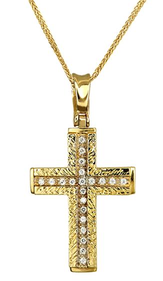 Βαπτιστικοί Σταυροί με Αλυσίδα ΧΡΥΣΟΣ ΓΥΝΑΙΚΕΙΟΣ ΣΤΑΥΡΟΣ ΑΝΑΓΛΥΦΟΣ 14Κ ΜΕ ΑΛΥΣΙΔΑ 012987C Γυναικείο Χρυσός 14 Καράτια