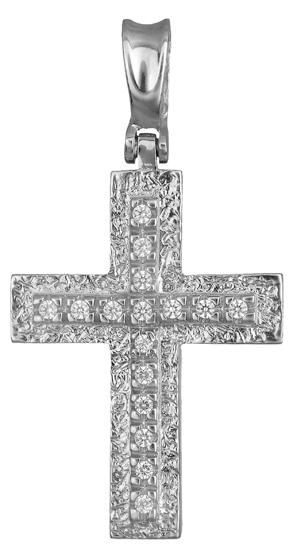 Σταυροί Βάπτισης - Αρραβώνα Λευκόχρυσος σταυρός πετράτος 14Κ 012988 012988 Γυναικείο Χρυσός 14 Καράτια
