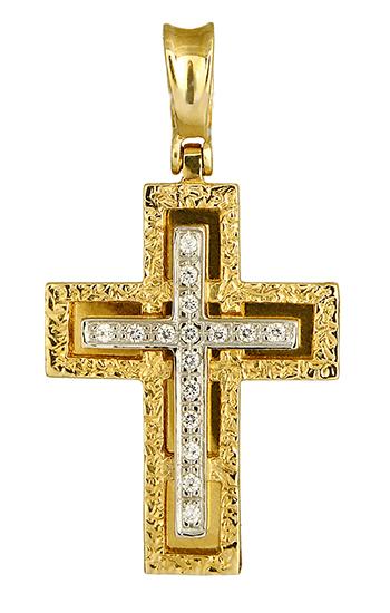 Σταυροί Βάπτισης - Αρραβώνα ΔΙΧΡΩΜΟΣ ΒΑΠΤΙΣΤΙΚΟΣ ΣΤΑΥΡΟΣ 012989 Γυναικείο Χρυσός 14 Καράτια