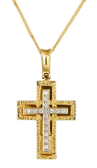 Βαπτιστικοί Σταυροί με Αλυσίδα Σταυρός Κορίτσι 012989C Γυναικείο Χρυσός 14 Καράτια