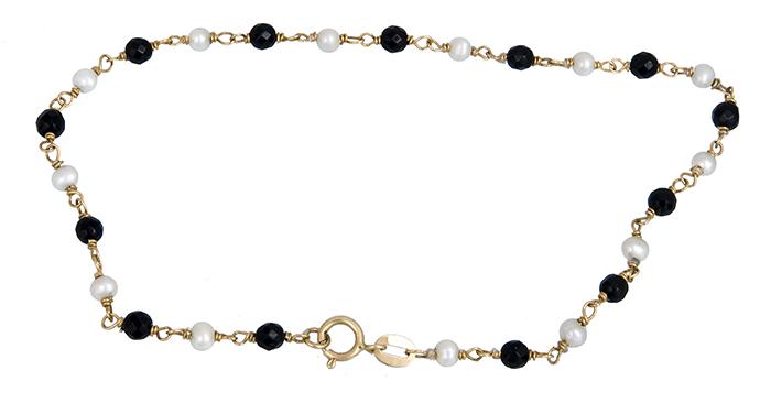 Βραχιόλι με μαργαριταράκια και όνυχα Κ14 012996 012996 Χρυσός 14 Καράτια