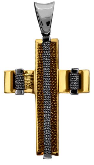 Σταυροί Βάπτισης - Αρραβώνα ΣΤΑΥΡΟΣ ΔΙΧΡΩΜΟΣ 18Κ 013006 013006 Ανδρικό Χρυσός 18 Καράτια