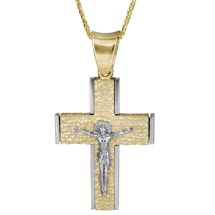 Βαπτιστικοί Σταυροί με Αλυσίδα Αντρικός σταυρός με τον εσταυρωμένο Κ18 013012C 013012C Ανδρικό Χρυσός 18 Καράτια