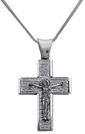 Βαπτιστικοί Σταυροί με Αλυσίδα ΣΤΑΥΡΟΣ ΛΕΥΚΟΧΡΥΣΟΣ 18Κ ΜΕ ΑΛΥΣΙΔΑ 013013C Ανδρικό Χρυσός 18 Καράτια