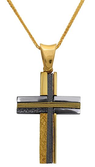 Βαπτιστικοί Σταυροί με Αλυσίδα ΣΤΑΥΡΟΣ ΔΙΧΡΩΜΟΣ 18Κ ΜΕ ΑΛΥΣΙΔΑ 013024C Ανδρικό Χρυσός 18 Καράτια